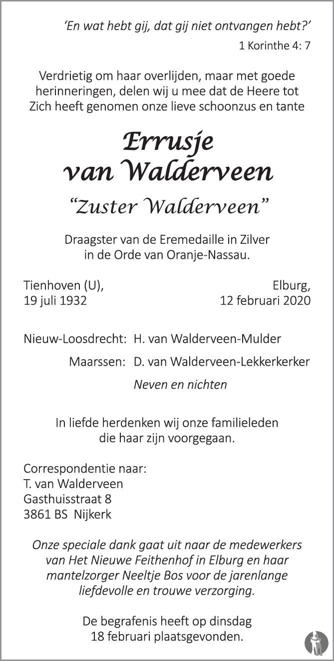 Overlijdensbericht van Errusje (Zuster Walderveen) van Walderveen in Huis aan Huis Elburg Oldebroek Nunspeet