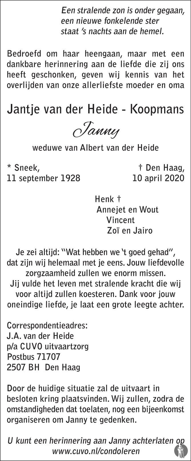 Overlijdensbericht van Jantje (Janny) van der Heide-Koopmans in AD Algemeen Dagblad