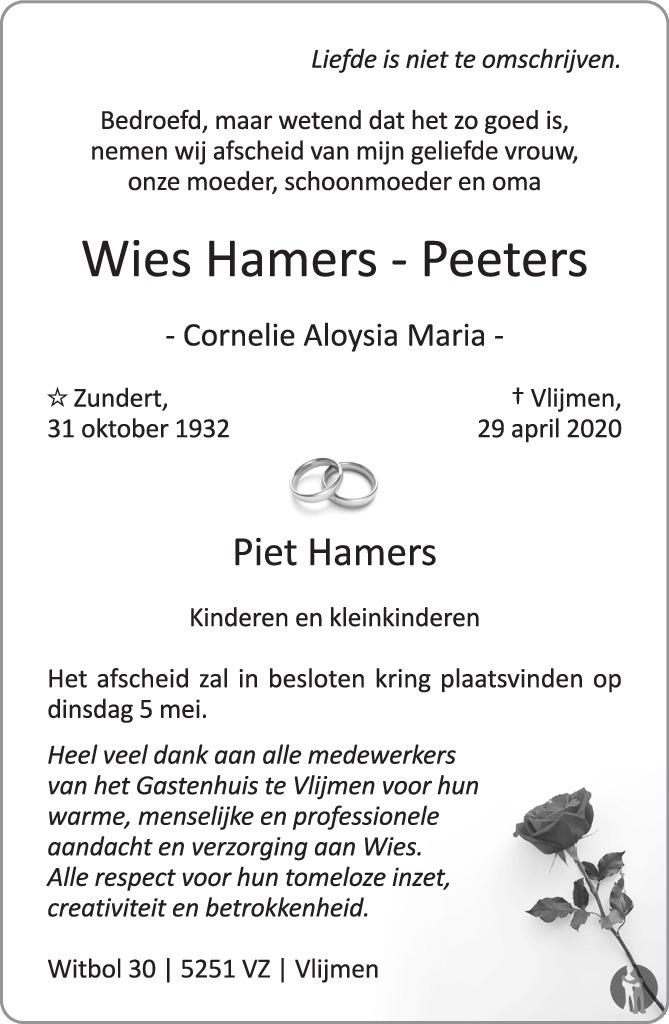 Overlijdensbericht van Wies (Cornelie Aloysia Maria) Hamers-Peeters in Brabants Dagblad
