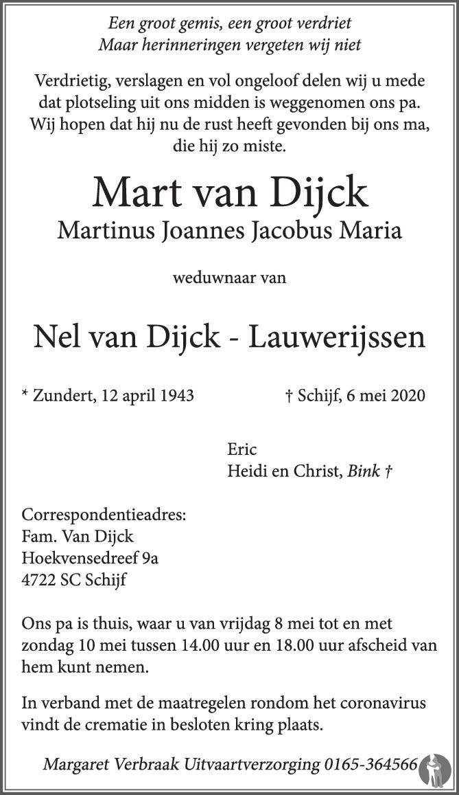 Overlijdensbericht van Mart (Martinus Joannes Jacobus Maria) van Dijck in BN DeStem