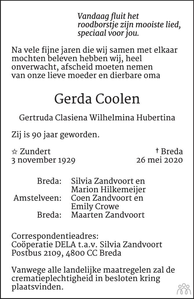 Overlijdensbericht van Gerda Coolen in BN DeStem