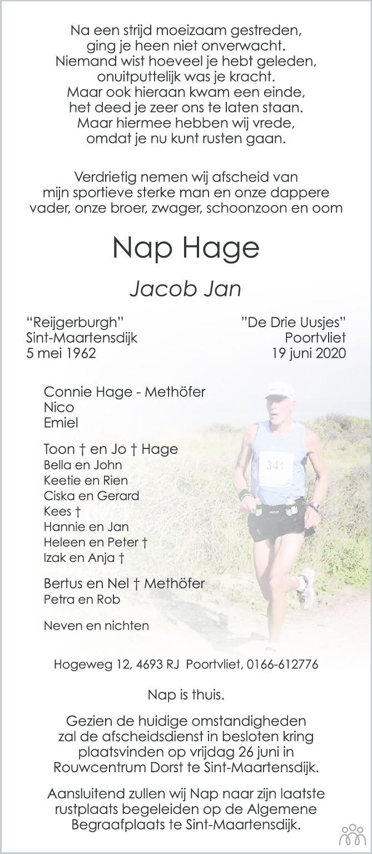 Overlijdensbericht van Nap (Jacob Jan) Hage in PZC Provinciale Zeeuwse Courant