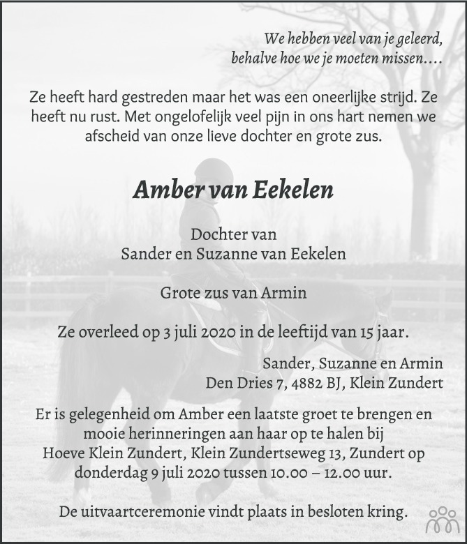 Overlijdensbericht van Amber van Eekelen in BN DeStem