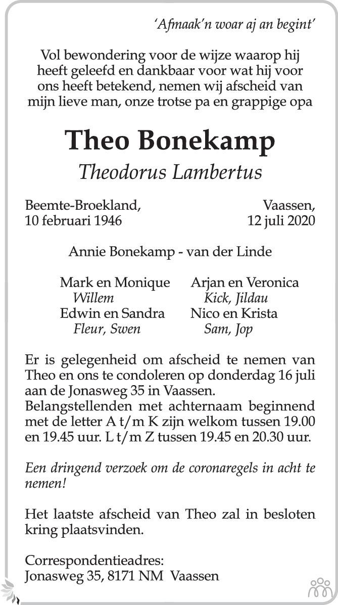 Overlijdensbericht van Theo (Theodorus Lambertus) Bonekamp in de Stentor