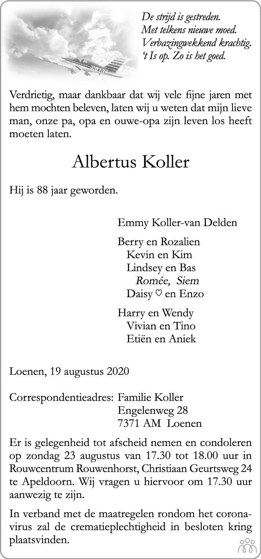 Overlijdensbericht van Albertus Koller in de Stentor