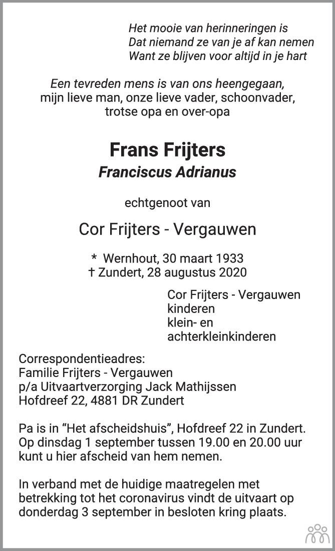 Overlijdensbericht van Frans (Franciscus Adrianus) Frijters in BN DeStem