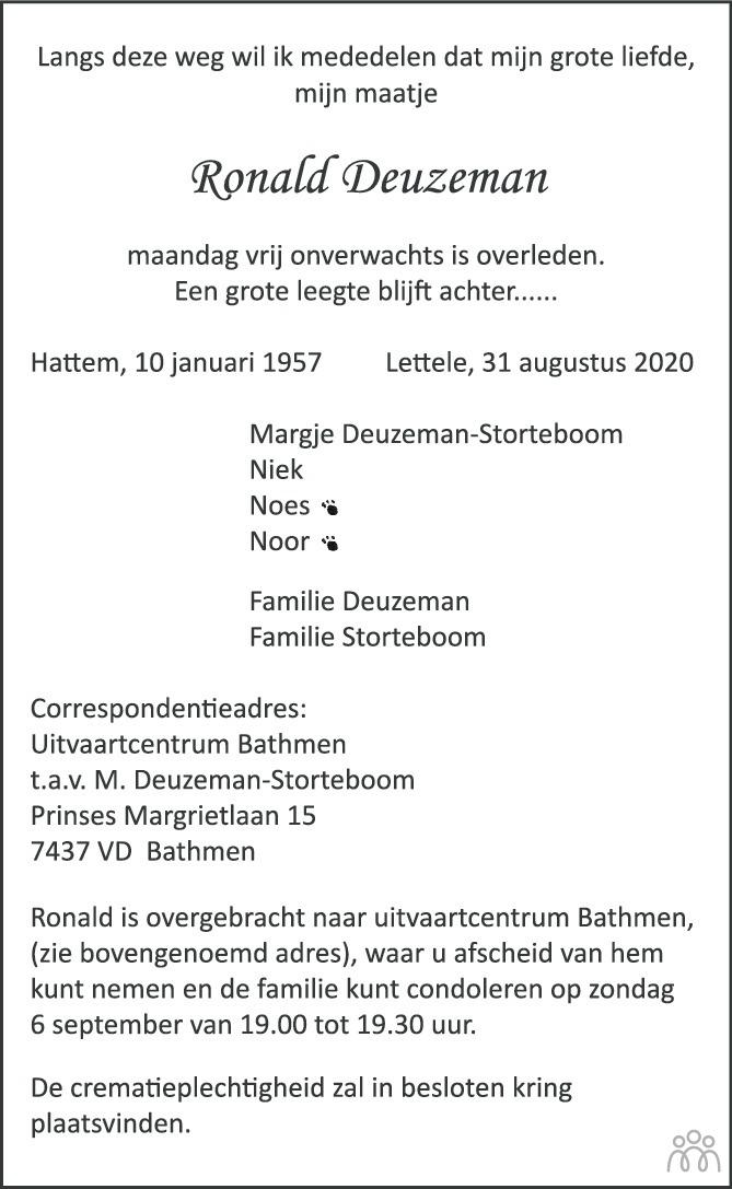 Overlijdensbericht van Ronald Deuzeman in de Stentor