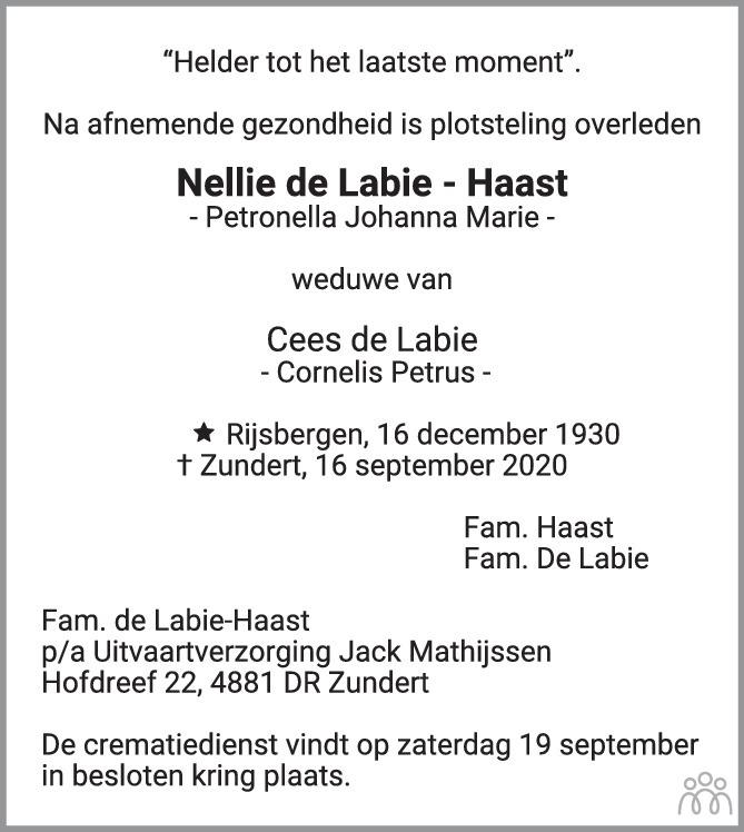 Overlijdensbericht van Nellie (Petronella Johanna Marie) de Labie-Haast in BN DeStem