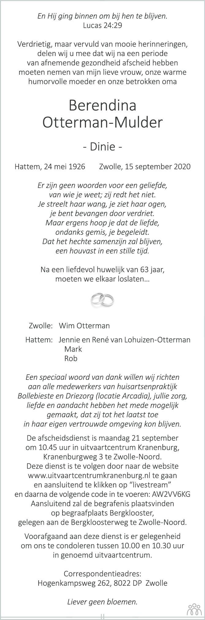 Overlijdensbericht van Berendina (Dinie) Otterman-Mulder in de Stentor