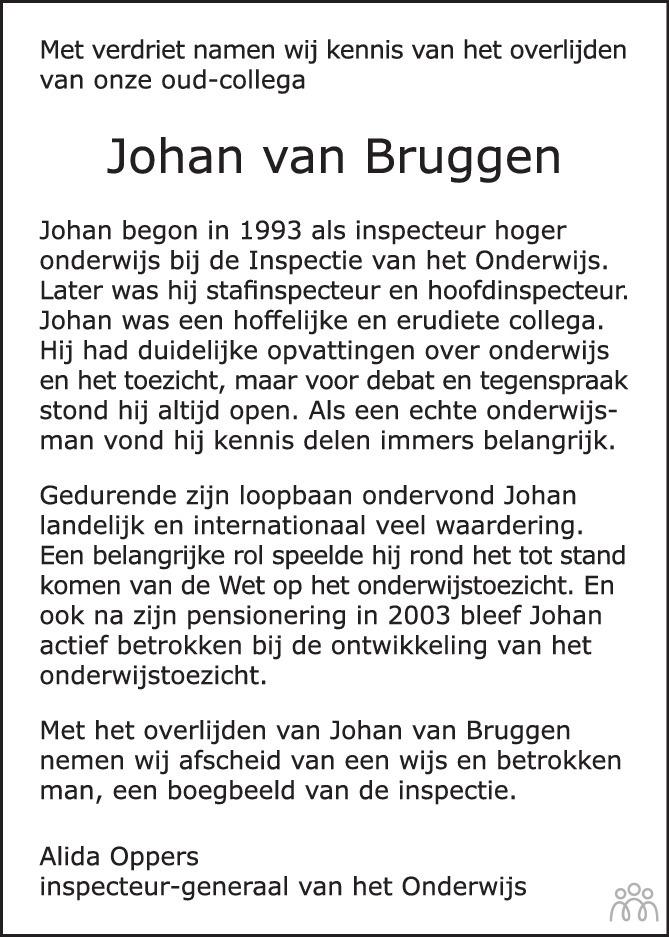 Overlijdensbericht van Johan van Bruggen in Trouw