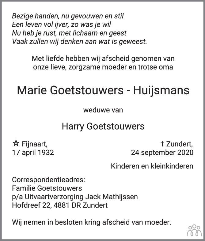 Overlijdensbericht van Marie Goetstouwers-Huijsmans in BN DeStem