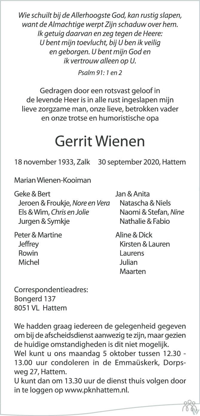 Overlijdensbericht van Gerrit Wienen in de Stentor