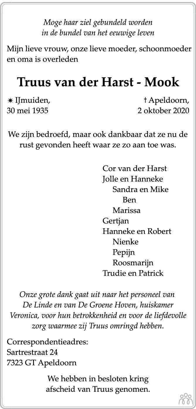 Overlijdensbericht van Truus van der Harst-Mook in de Stentor