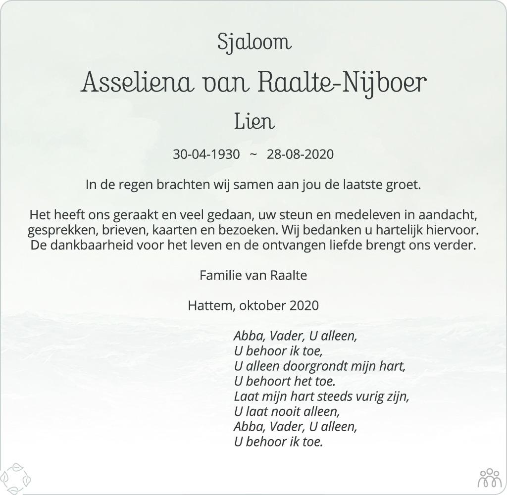 Overlijdensbericht van Asseliena (Lien) Van Raalte-Nijboer in de Stentor