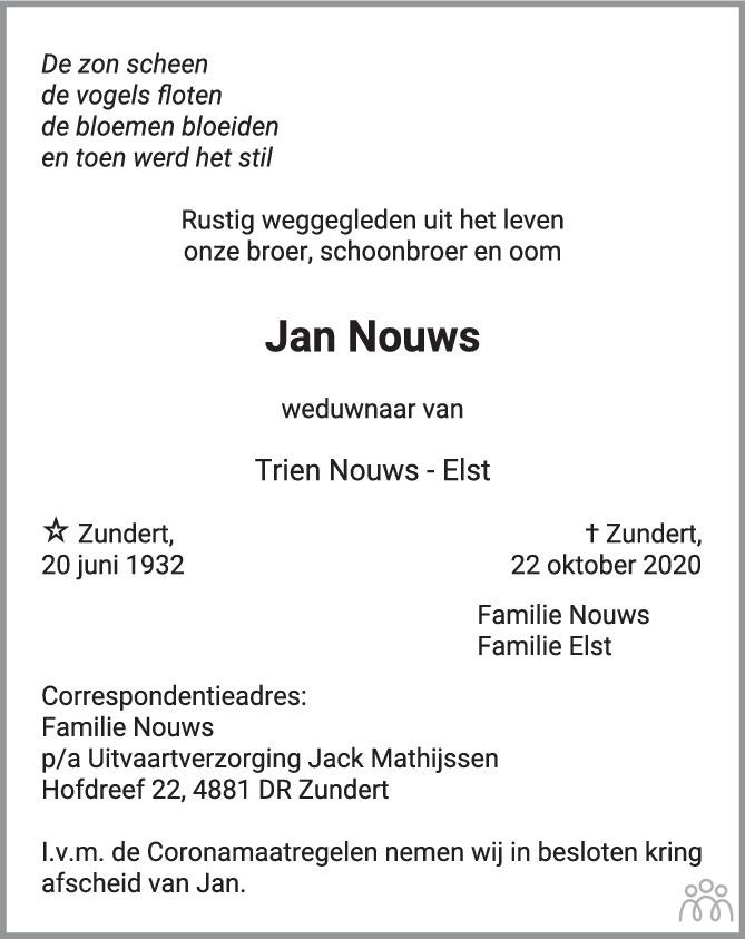Overlijdensbericht van Jan Nouws in BN DeStem
