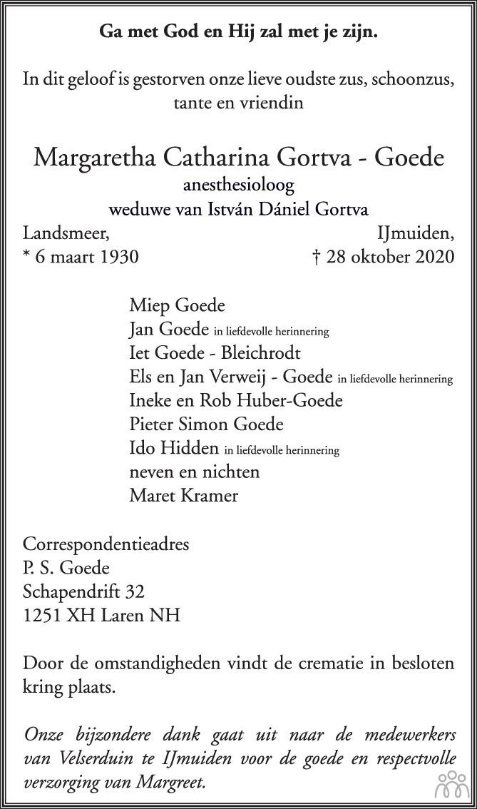 Overlijdensbericht van Margaretha Catharina Gortva-Goede in Trouw