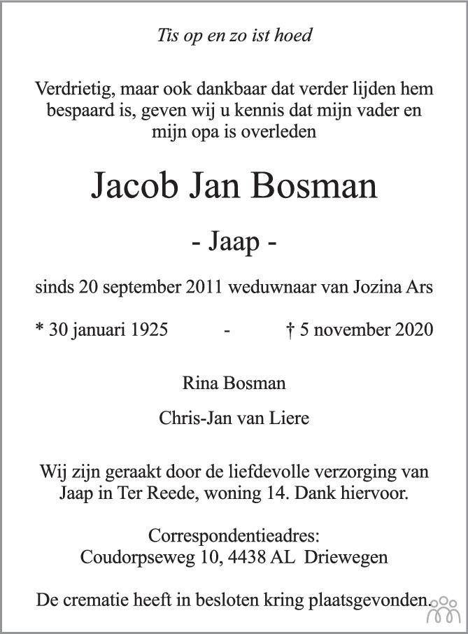 Overlijdensbericht van Jacob Jan (Jaap) Bosman in PZC Provinciale Zeeuwse Courant
