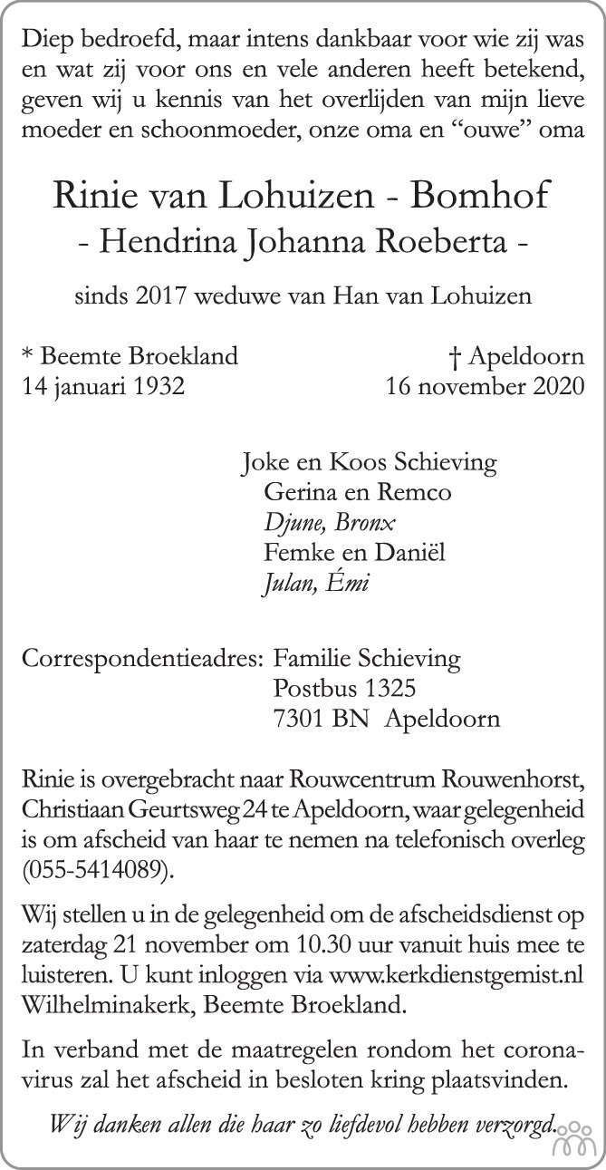 Overlijdensbericht van Rinie (Hendrina Johanna Roeberta) van Lohuizen-Bomhof in de Stentor
