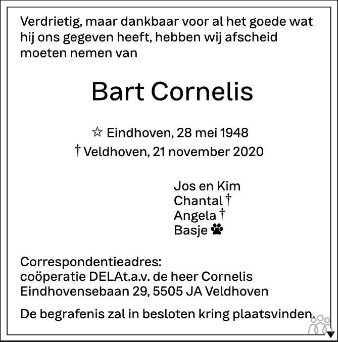 Overlijdensbericht van Bart Cornelis in Eindhovens Dagblad