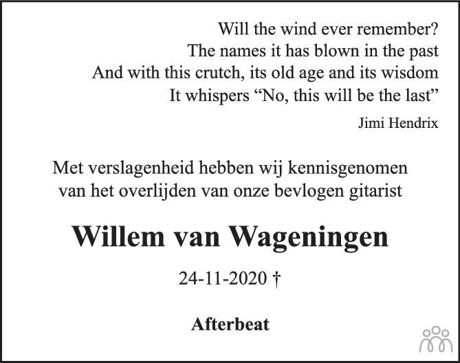 Overlijdensbericht van Willem van Wageningen in Eindhovens Dagblad