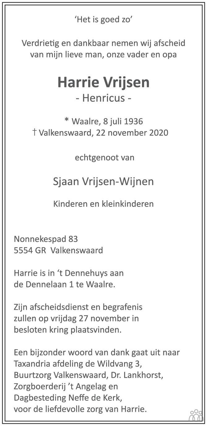 Overlijdensbericht van Harrie (Henricu) Vrijsen in Eindhovens Dagblad
