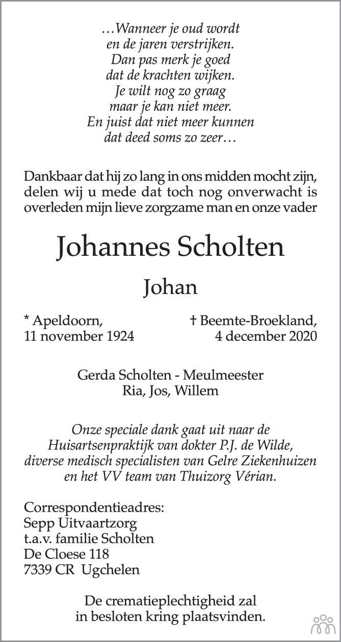 Overlijdensbericht van Johannes (Johan) Scholten in de Stentor