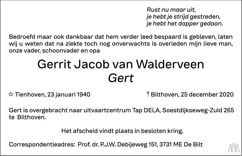 Overlijdensbericht van Gerrit Jacob (Gert) van Walderveen in Biltsche Courant