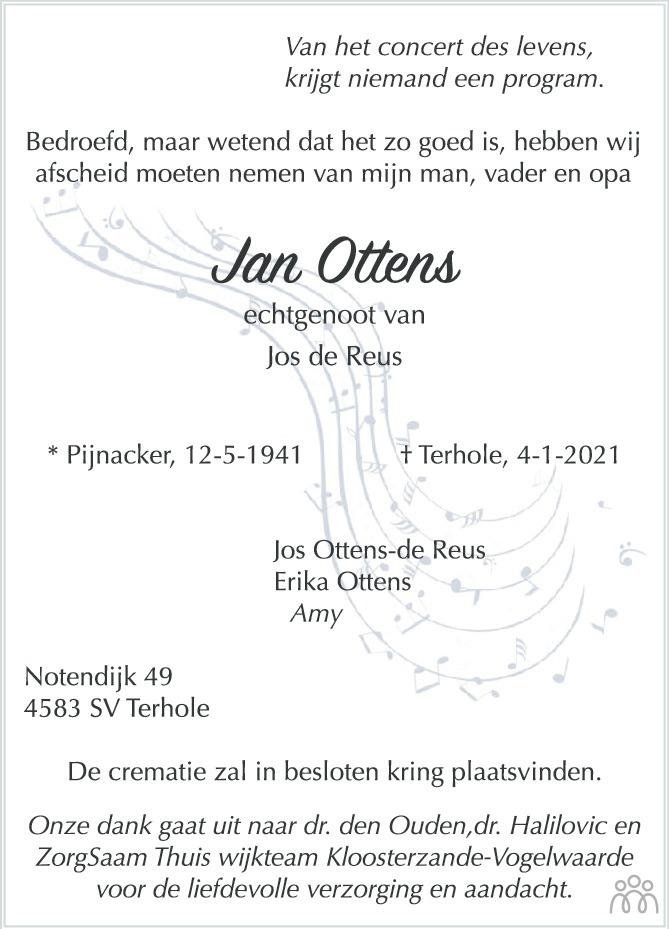 Overlijdensbericht van Jan Ottens in PZC Provinciale Zeeuwse Courant
