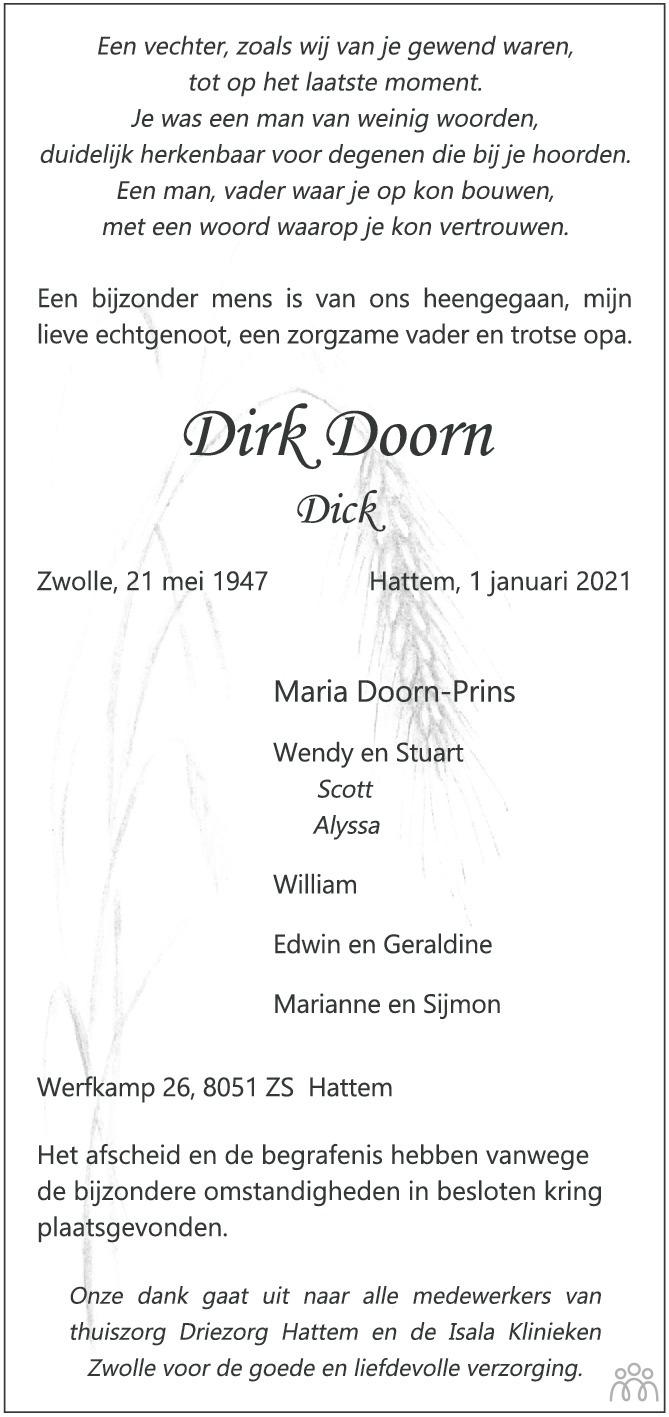 Overlijdensbericht van Dirk (Dick) Doorn in de Stentor