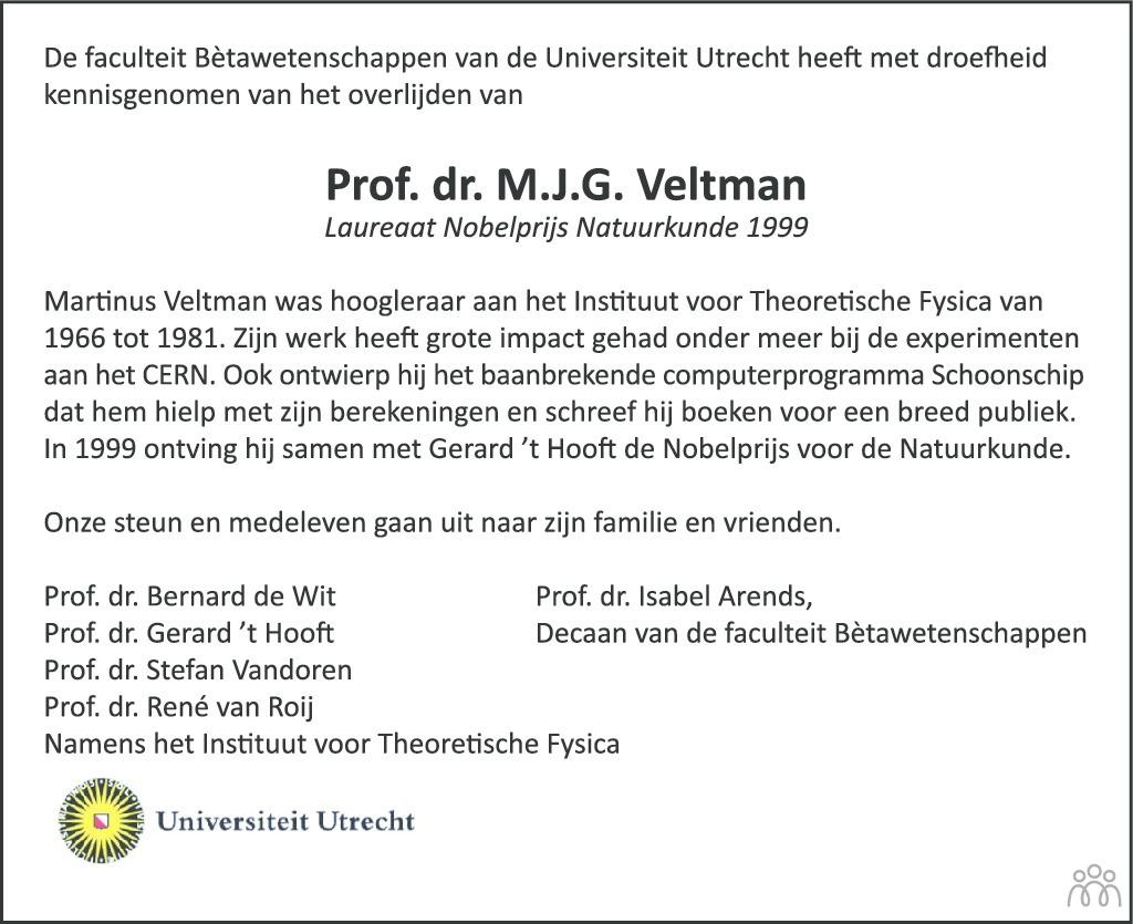 Overlijdensbericht van Martinus Justinus Godefridus (Tini) Veltman in AD Algemeen Dagblad