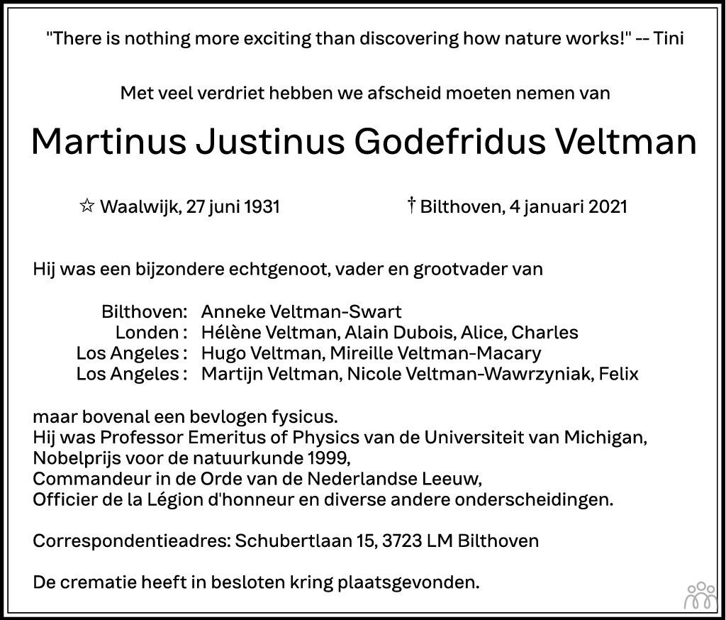 Overlijdensbericht van Martinus Justinus Godefridus (Tini) Veltman in Brabants Dagblad