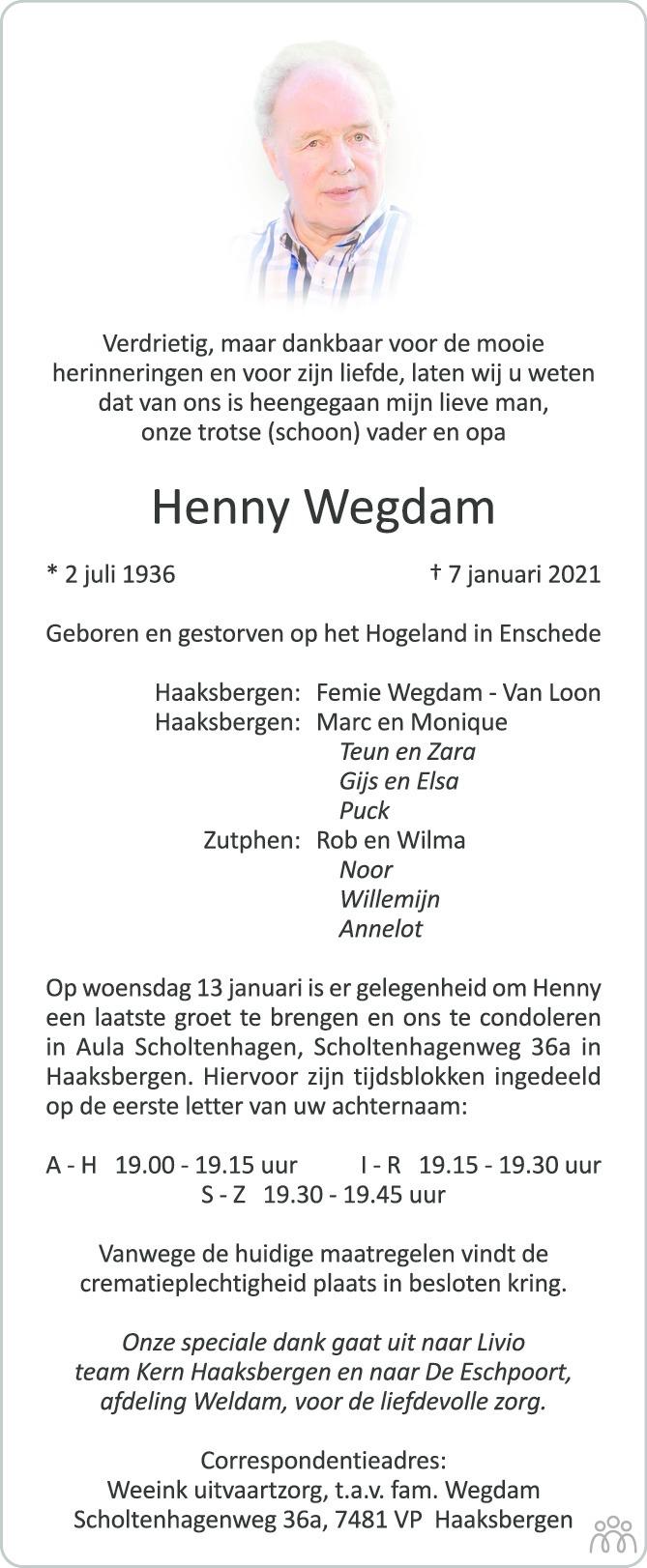 Overlijdensbericht van Henny Wegdam in Tubantia