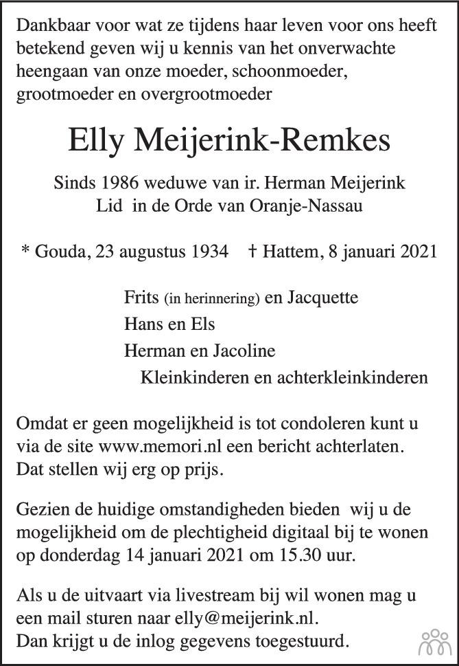 Overlijdensbericht van Elly Meijerink-Remkes in de Stentor