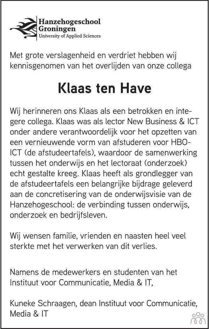 Overlijdensbericht van Klaas ten Have in de Volkskrant