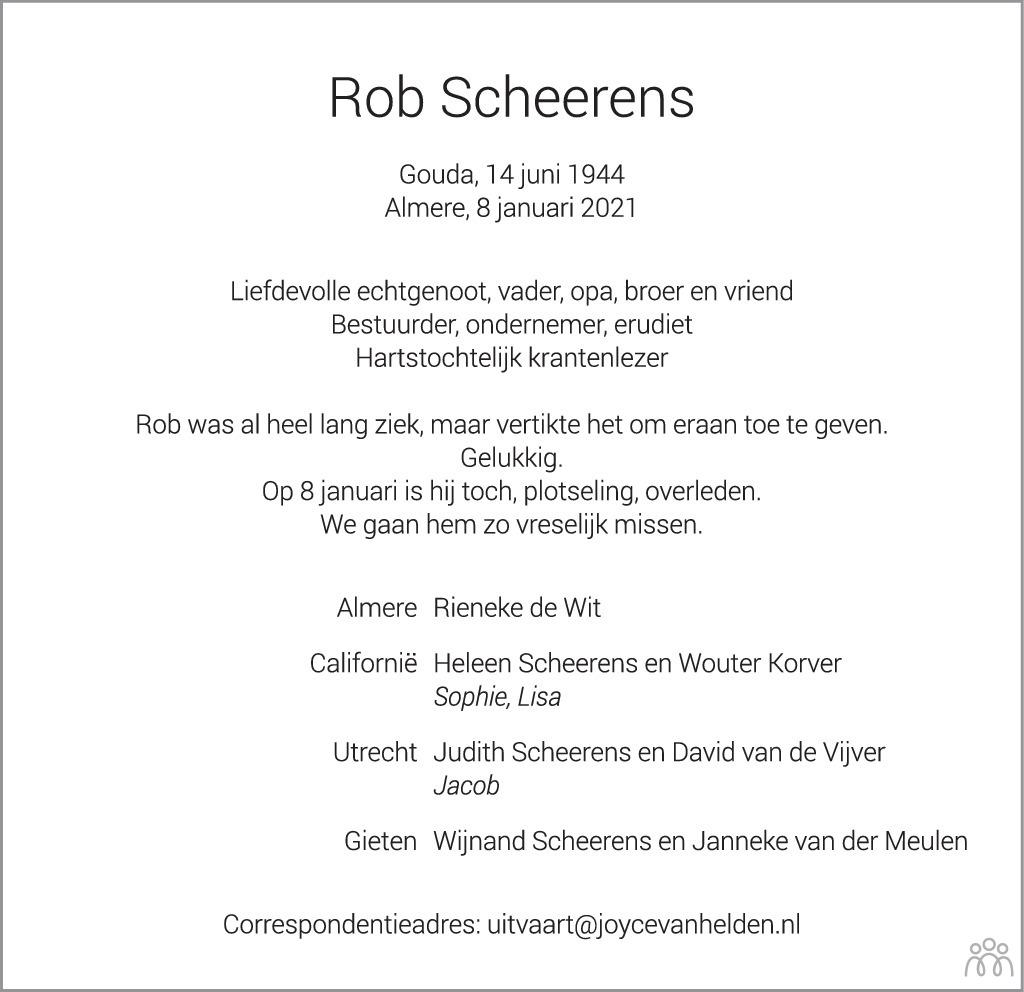 Overlijdensbericht van Rob Scheerens in Het Parool