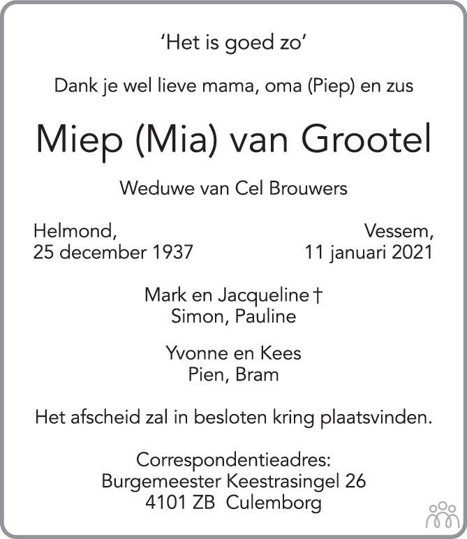 Overlijdensbericht van Miep (Mia) van Grootel in Eindhovens Dagblad