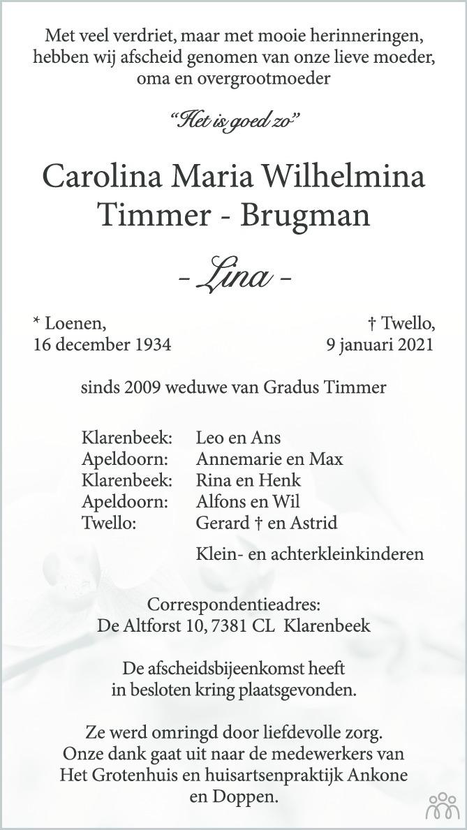 Overlijdensbericht van Carolina Maria Wilhelmina (Lina) Timmer-Brugman in de Stentor