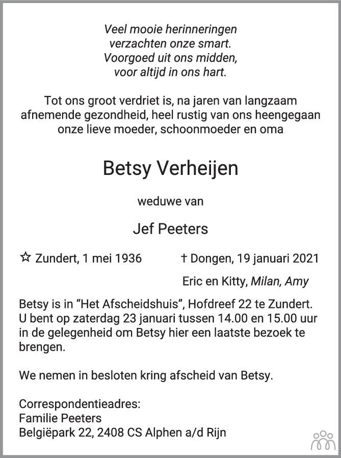 Overlijdensbericht van Betsy Verheijen in BN DeStem