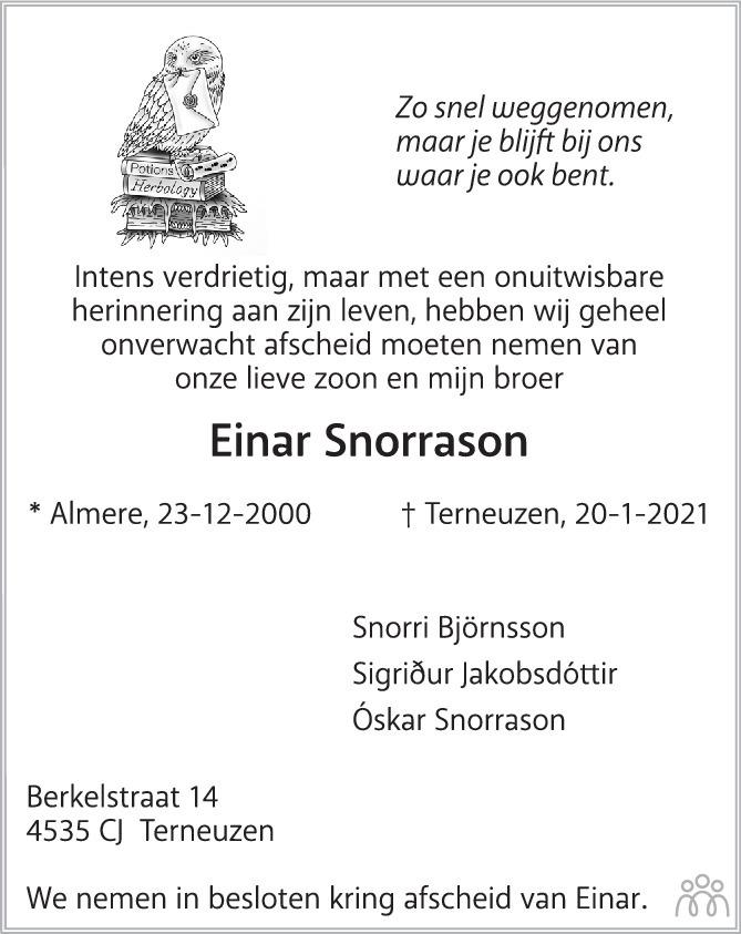 Overlijdensbericht van Einar Snorrason in PZC Provinciale Zeeuwse Courant