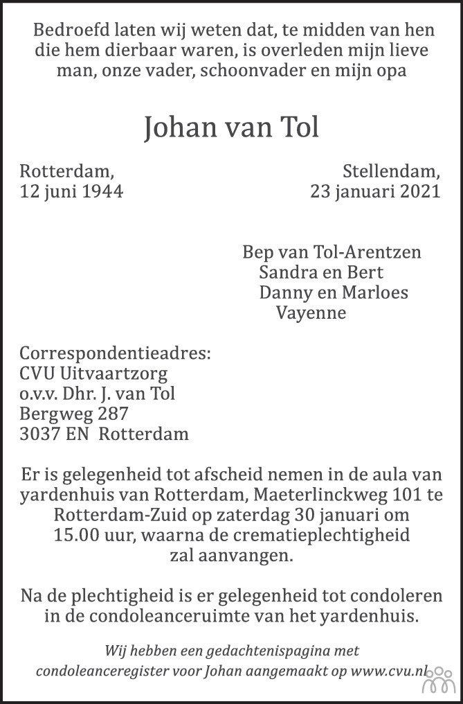 Overlijdensbericht van Johan van Tol in AD Algemeen Dagblad