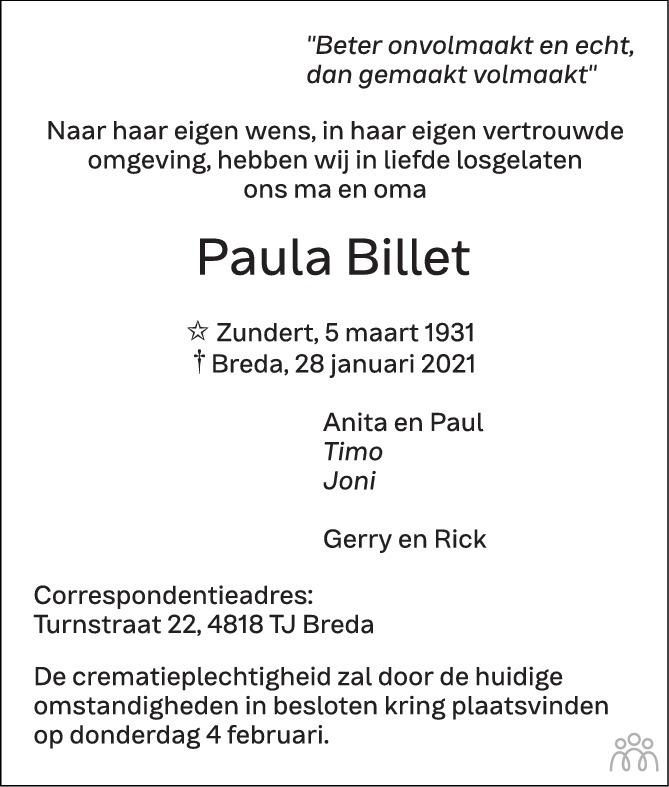Overlijdensbericht van Paula Billet in BN DeStem