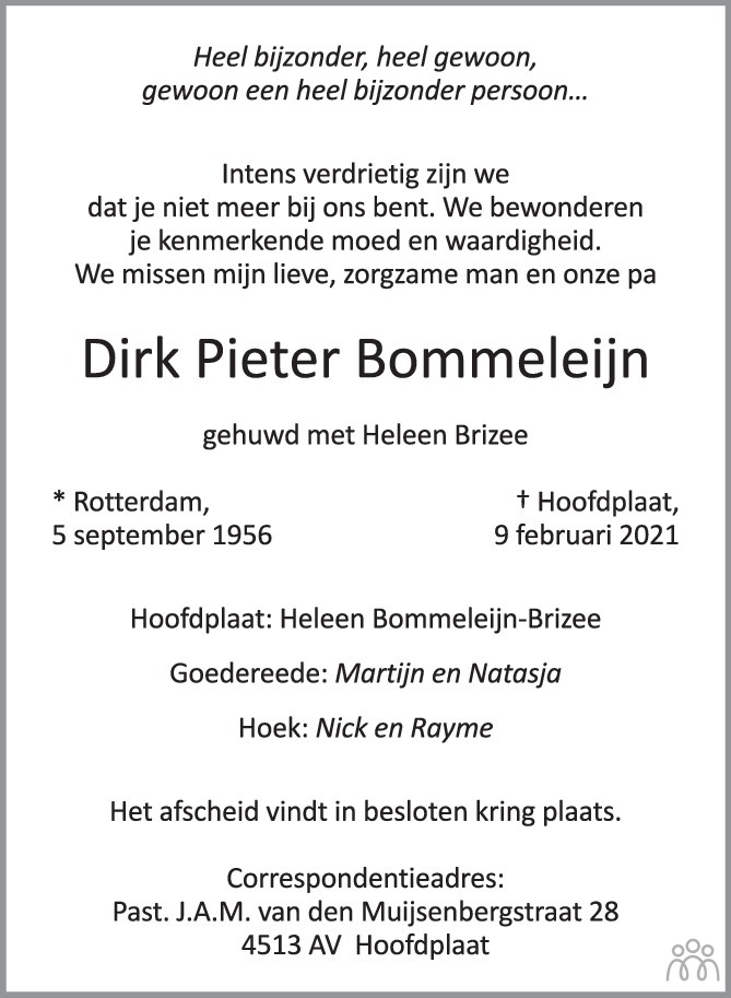 Overlijdensbericht van Dirk Pieter Bommeleijn in PZC Provinciale Zeeuwse Courant