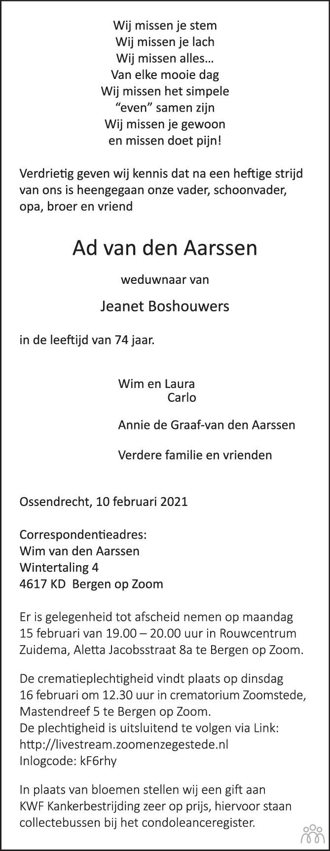 Overlijdensbericht van Ad van den Aarssen in BN DeStem