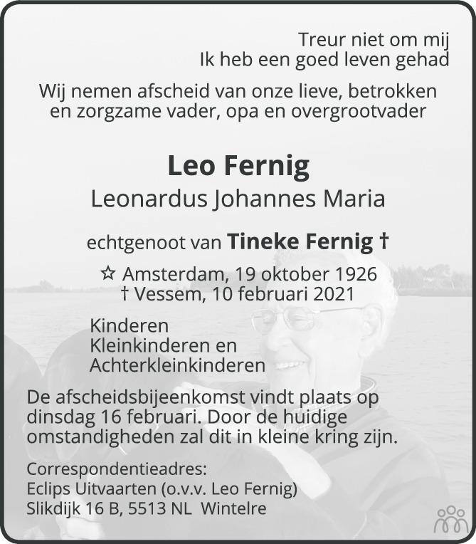 Overlijdensbericht van Leo (Leonardus Johannes Maria) Fernig in Eindhovens Dagblad