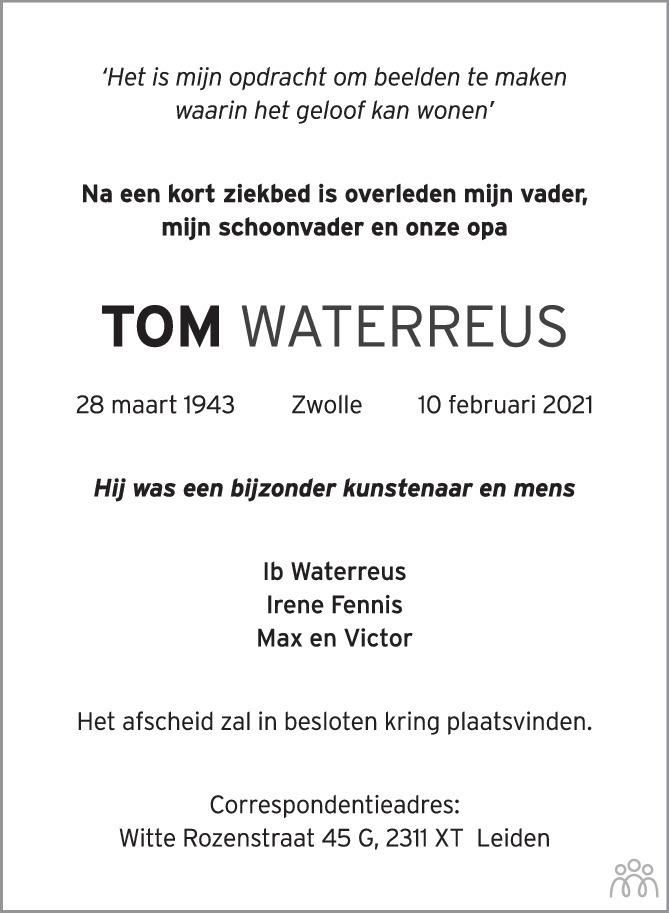 Overlijdensbericht van Tom Waterreus in de Stentor