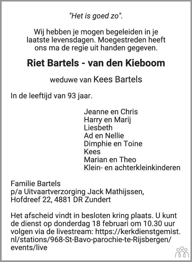 Overlijdensbericht van Riet Bartels-van den Kieboom in BN DeStem