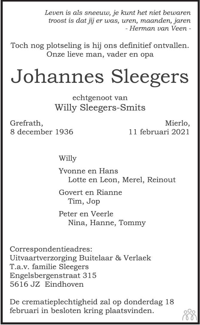 Overlijdensbericht van Johannes Sleegers in Eindhovens Dagblad