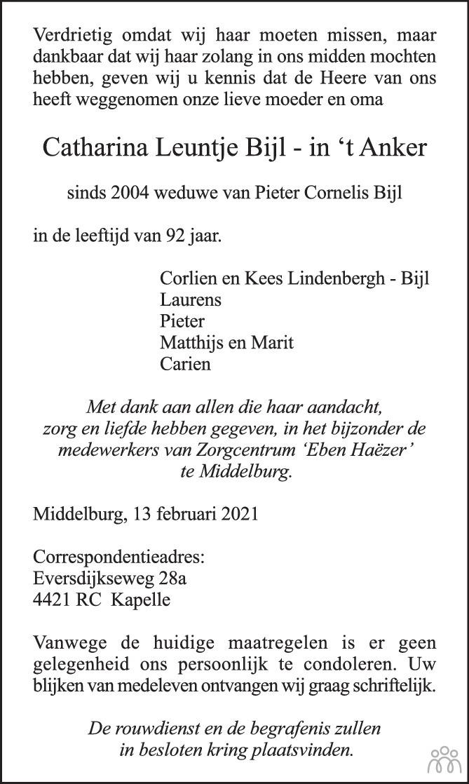 Overlijdensbericht van Catharina Leuntje Bijl - In 't Anker in PZC Provinciale Zeeuwse Courant