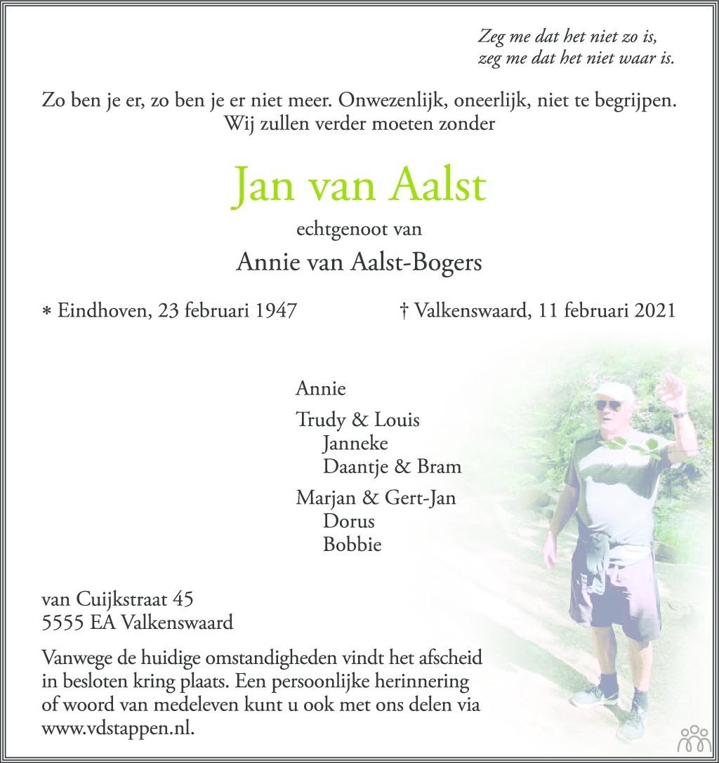 Overlijdensbericht van Jan van Aalst in Valkenswaards Weekblad