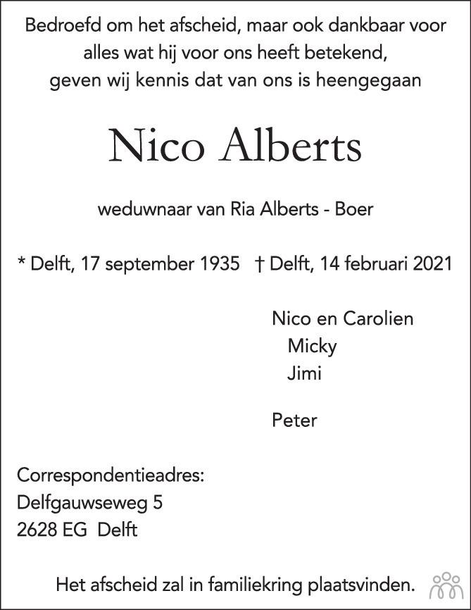 Overlijdensbericht van Nico Alberts in Delftse Post